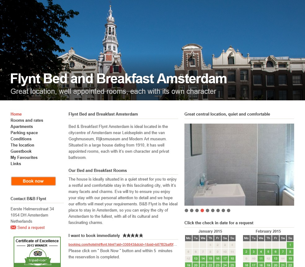 bed and breakfast amsterdam flynt